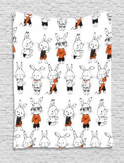 Cute Retro Bunny Rabbits Tapestry