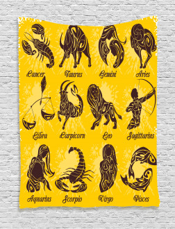 Grungy Zodiac Signs Tapestry