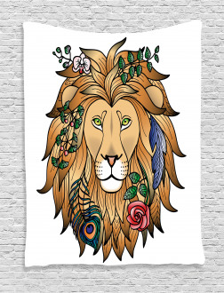 Lion with Flower Tapestry