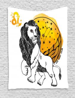 Zodiac Leo Symbol Art Tapestry