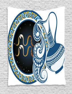 Aquarius Sign Tapestry