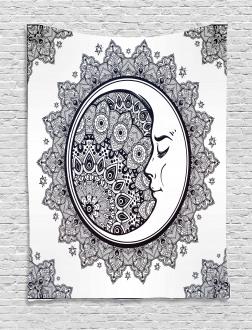Boho Star Moon Mandala Tapestry