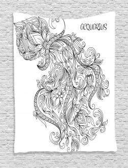 Floral Astrology Aquarius Tapestry