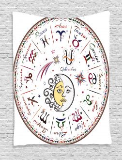 Moon Sun and Signs Tapestry
