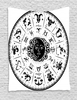 Black White Zodiac Tapestry