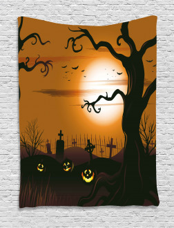 Scary Cemetery Tapestry