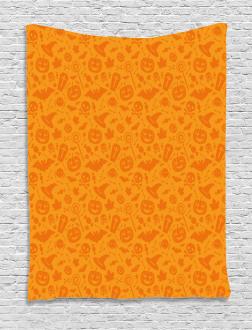 Halloween Pumpkin Skull Tapestry