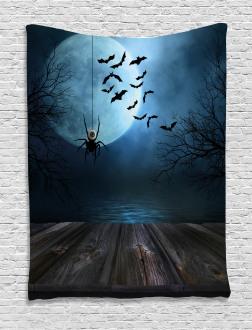 Lake Scene Bat Tapestry