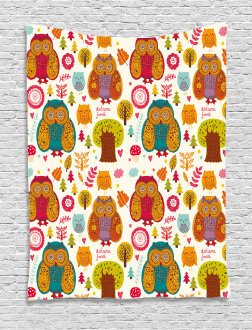 Colorful Owl Woodland Animals Tapestry