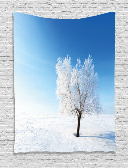 Snow Covered Alone Tree Tapestry