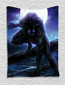 Surreal Werewolf Eyes Tapestry