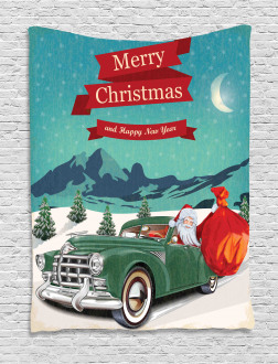 Santa in Classic Car Tapestry