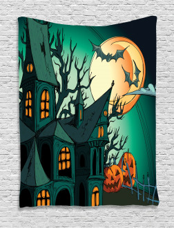 Halloween Haunted Castle Tapestry