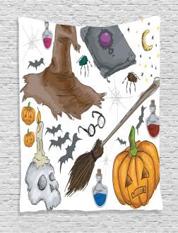 Pumpkin Skull Tapestry