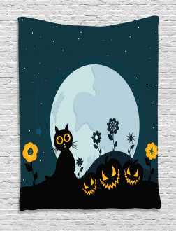 Kitty Under Moon Tapestry