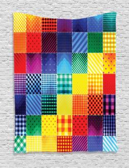 Rainbow Retro Patchwork Tapestry