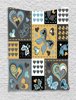 Butterfly Heart Retro Tapestry