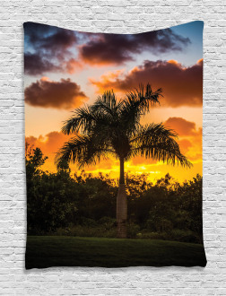 Exotic Tree at Sunset Tapestry