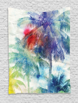 Watercolor Palm Retro Tapestry