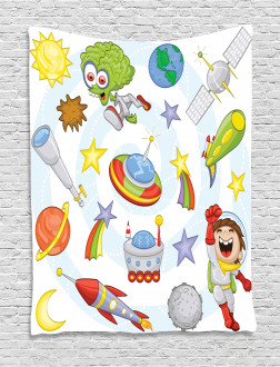 Kids Outer Space Earth Tapestry