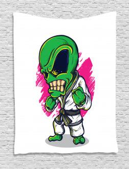 Angry Alien Karate Art Tapestry