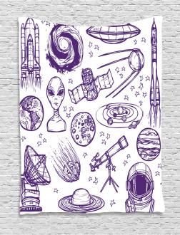 Sketch Alien Planet Art Tapestry