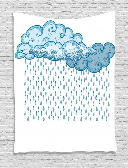 Rain Cloud Sketch Fall Tapestry