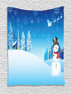 Snowman Winter Stars Tapestry