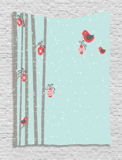 Cute Red Bird Winter Tapestry