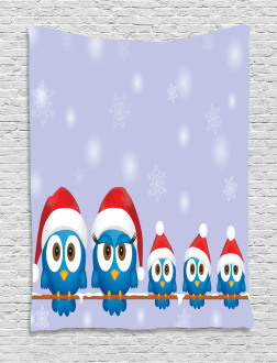 Fun Birds Santa Hats Tapestry