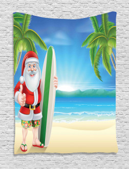 Santa with Surfboard Tapestry