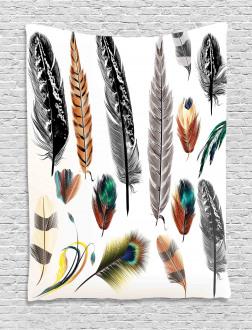 Bird Feather Retro Vibrant Tapestry