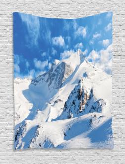 Snowy Mountain Ski Tapestry