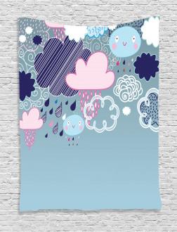 Cartoon Rain Smiley Faces Tapestry