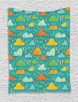 Puffy Clouds Funk Art Tapestry