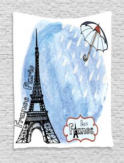 Watercolor Paris Tapestry