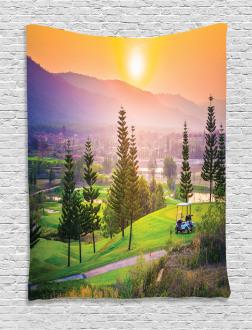 Golf Spring Sunset Tapestry