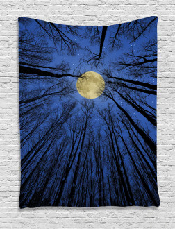 Full Moon in Woods Tapestry
