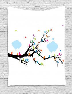 Winged Birds on Tree Tapestry
