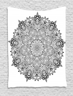 Mandala Art Black White Tapestry