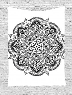 Mandala Black White Art Tapestry