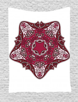 Maroon Mandala Asian Tapestry
