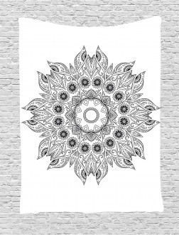 Mandala Black White Tapestry
