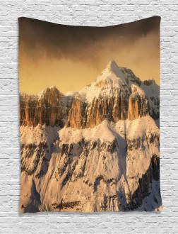 Overcast Sky Mountain Tapestry