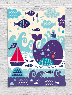 Cartoon Whale an Fishes Tapestry