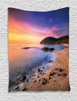Beach Pebbles Sunrise Tapestry