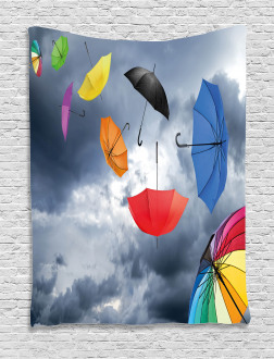 Flying Umbrellas Clouds Tapestry