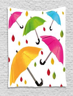 Colorful Umbrellas Leaf Tapestry