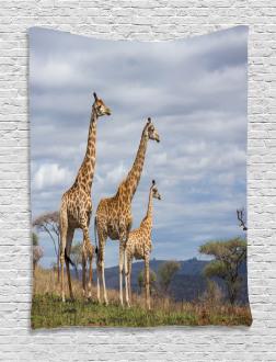 African Giraffe Family Tapestry