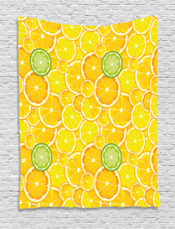 Lemon Orange Circles Tapestry